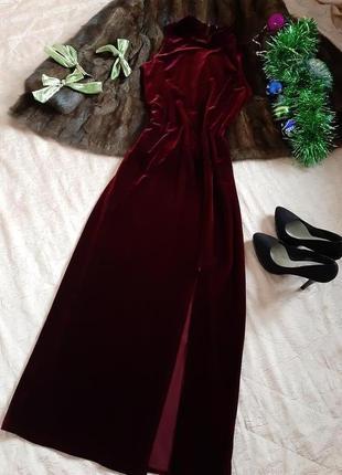 Вечернее бархатное платье цвета бургунди от c&a