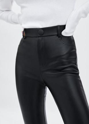Легинсы штаны брюки из искусственной кожи zara, размер xs