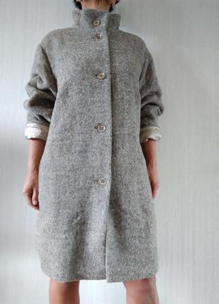 Роскошное пальто oversize из шерсти альпака италия р 50