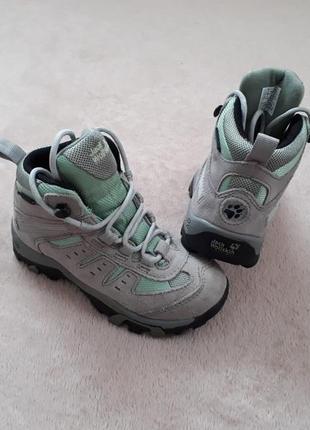 Детские кожаные (замша) мембранные треккинговые ботинки от jack wolfskin texapore p.28