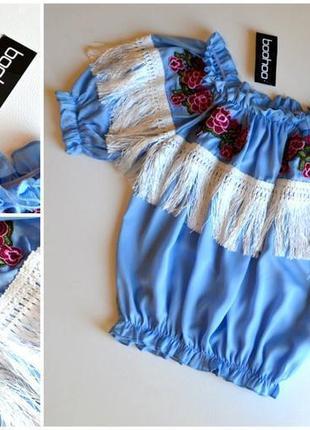 Шикарная блуза с бахромой и вышивкой цветы boohoo