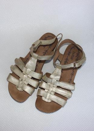 42 27см hotter кожаные золотистые босоножки, сандалии на липучках