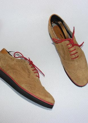39 25,5см pepe jeans замшевые туфли на платформе, оксфорды на шнуровке