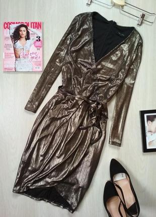 Платье на запах золотой металлик плаття