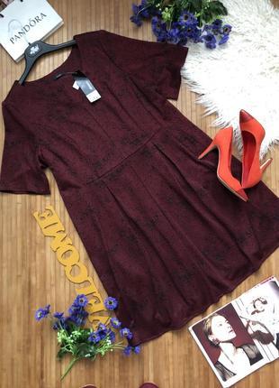 Новое бордовое платье с напилением бархата