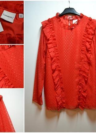 Красивая красная блуза с рюшиками 50 размер