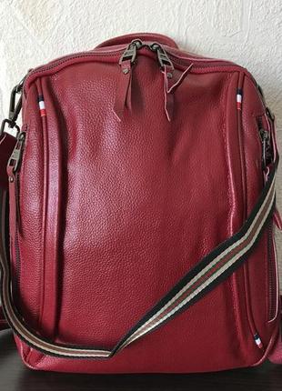 Сумка-рюказк 1435 натуральная кожа красный