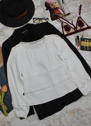Обнова! блуза белая плиссе объемный рукав вставки кружево mango