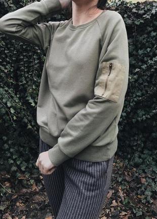 Крутой свитшот с карманом хаки, худи, толстовка, свитер