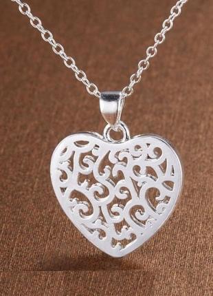 Ажурная подвеска на цепи кулон в серебре сердце, новая! арт.109394