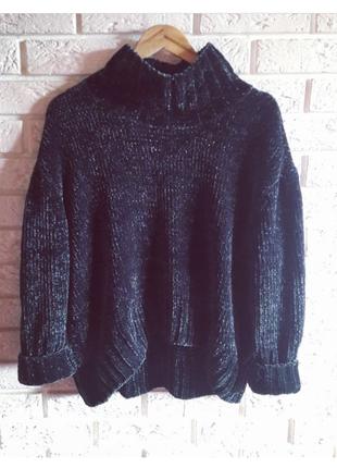 Бархатный/ плюшевый/ велюровый вязаный свитер оверсайз