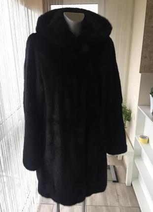 Шикарная норковая шуба с капюшоном alex furs