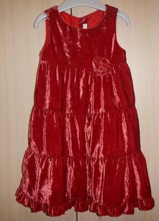 Нарядное бархатное платье h&m р.86см(1-1,5года)