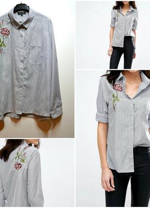 Новая рубашка в полоску с вышивкой цветы
