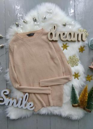 Базовый пудровый пуловер в рубчик №95