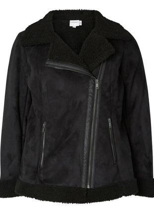 Байкерская куртка из искусственной овечьей шерсти от junarose. размер xl
