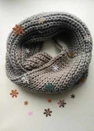 Шикарный теплый вязаный шарф,хомут,снуд крупной вязки,серый шарф,вязаный снуд
