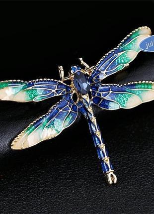 Брошь стрекоза синяя, смотрите больше бижутерии в моих объявлениях
