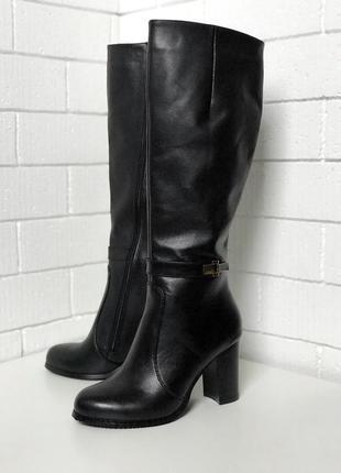 Сапоги, сапожки высокие, из натуральной черной кожи, зимние, шерсть, высокий каблук, 36-40