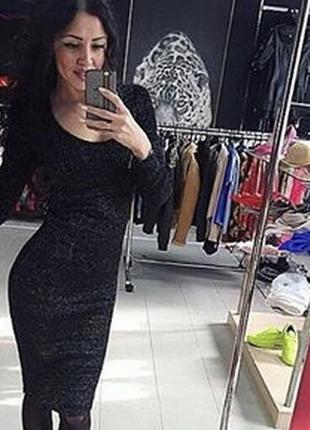 Шикарное чёрное платье люрекс от only ,размер s