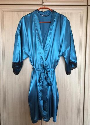 Новый атласный бирюзовый халат с черным кружевом amour 12-14pp