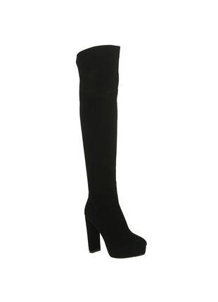 1045б женские ботфорты brocoli,замшевые,на каблуке,на толстой подошве,на высоком каблуке