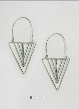 Серьги триулольник серебряные asoa