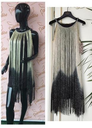 Платье с длинной люрекс бахромой италия xs/s нарядное черное с золотым