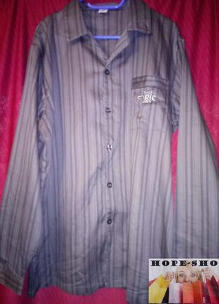 Тёмно серая,в полоску рубашка для сна с длинным рукавом  на высокий рост 48/50