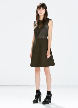 Кожаное платье с шерстяной юбкой zara