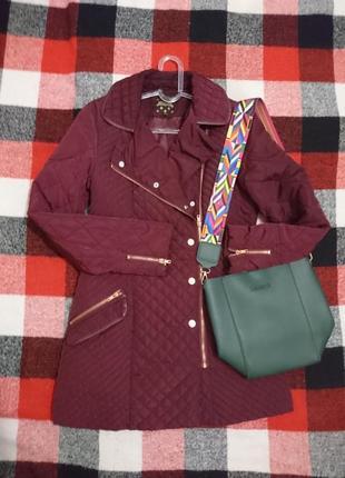 Куртка косуха цвета марсала