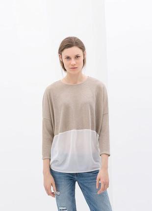 Комбинированная блузка,джемпер,широкая,оверсайз,oversize zara