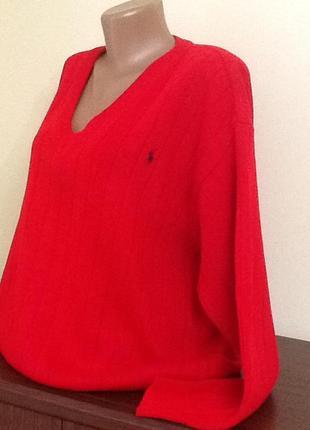 Брендовый котоновый свитер от ralph lauren большого размера