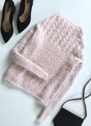 Мягкая вязаная  кофта свитер травка с косичками и длинным рукавом