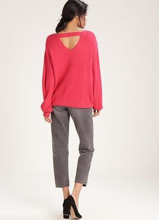 Яркий тёплый вязаный свитер оверсайз с вырезом на спине, объёмный new look
