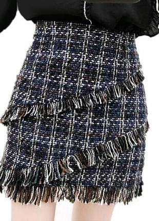 Юбка с твидовым плетением в длине мини! размер s!
