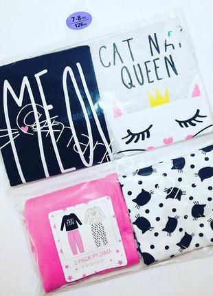 """Детская пижама для девочки с аппликацией спереди  """"meow"""" primark"""