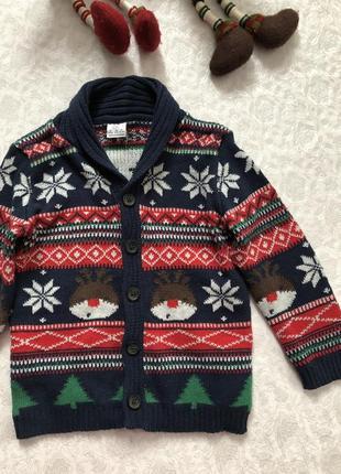Новый свитер новогодний  на мальчика 12- 18 мес, можно и больше