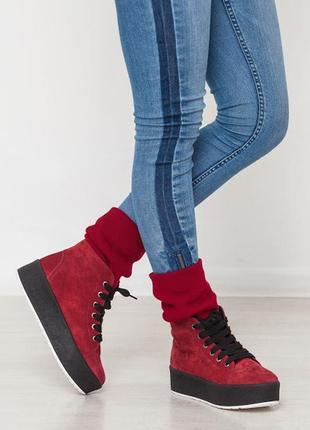 Стильные теплые натуральные кожаные кеды ботинки зимние и демисезонные