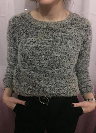 Теплая актуальная кофта свитер травка