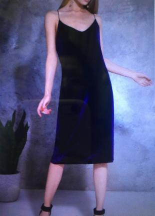 Вечернее бархатное платье на тонких бретелях размер 12