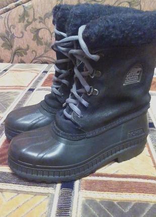 Зимние резиновые ботинки,сапоги,сноубутсы.оригинал sorel-made in canada-35р.1