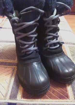 Зимние резиновые ботинки,сапоги,сноубутсы.оригинал sorel-made in canada-35р.4