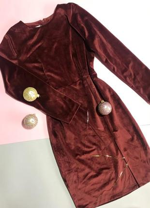 Новое бархатное платье бургенди бордо марсала