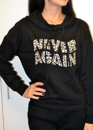 Продам черную спортивную кофту lc waikiki размер м леопардовый модный принт
