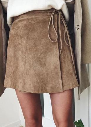 Кожаная юбка премиум