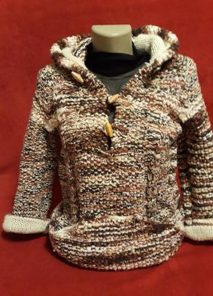 Шерстяной удлененный свитер/ толстовка с капюшоном ручная работа