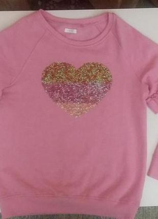 Красивенный розовый джемпер батник свитшот с оборками и сердцем от next