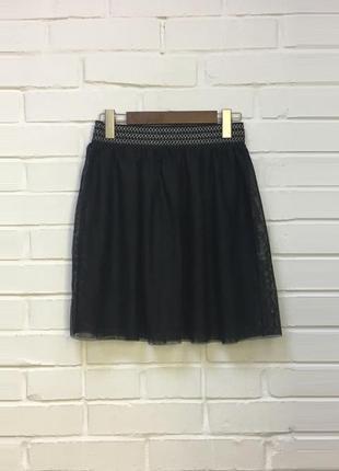 Черная мини юбка пачка сетка пышная cache&cache