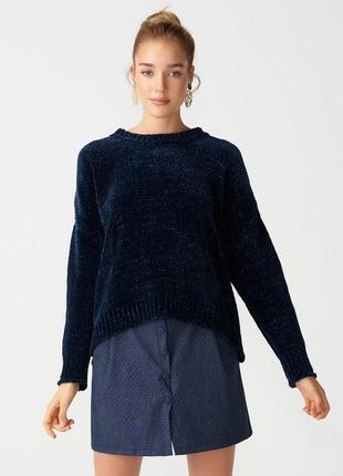 Темно-синий плюшевый бархатный свитер { кофточка} очень мягкая и теплая